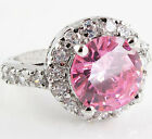 Size 6,7,8,9 Jewelry Woman's Pink Sapphire 10KT White Gold Filled Ring