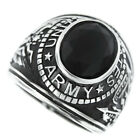 Jet Black Stone US Army Military Silver Stainless Steel Mens Ring