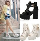 Womens Lace Up Cutout Platform Block High Heel Sandals Ankle Boots Shoes 356