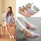 Womens Pointed Toe Cutout Ankle Strap Low Heel Sandals Shoes Plus Size 6223