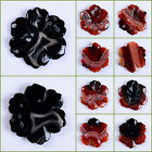 Carved dream agate flower shape pendant bead