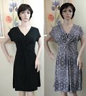NW SLIMPACT black or multi gathered front built in shapewear jersey dress,L,M,XL
