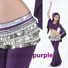 338pcs Silver Coins Belly Dance Belt Waist Chain Hip Scarf Velvet 9 Colors