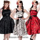 RKP8 Hell Bunny Tattoo Flock Satin 50s  Rockabilly Dress Pin Up Swing Prom Dance