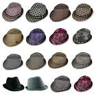 Brand New Mens Ladies Original Wool Felt Black Trilby Fedora Hat Grey Black