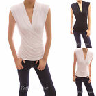 Stand Collar V Neck Faux Wrap Ruched Sleeveless Pullover Blouse Tank Top