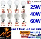 10 x Golf Ball Light Bulbs 25w 40w 60w / BC SBC SES ES Caps Fittings