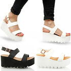 WOMENS LADIES SUMMER FASHION CHUNKY FLATFORM WEDGE GLADIATOR SANDALS SIZE