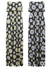 NEW LADIES BLACK MULTI FLORAL DAISY PRINT FRILL TOP BANDEAU MAXI DRESS SIZE 8-14