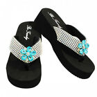 NEW Classic Rhinestone w/Blue Flower Flip Flops~ Add some Bling to your feet!