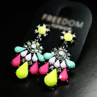 Gorgeous Vintage Colorful Precious Stone Candy Color Earring