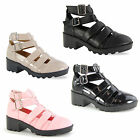 WOMENS GLADIATOR CUT OUT LOW BLOCK HEEL BUCKLE  PLATFORM LADIES ANKLE BOOT SIZE
