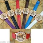 Girls Ladies Wrist Watches Leather Band Diamond Eiffel Towel Quartz Crystal  New