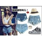 Ladies High Waisted Denim Jeans Shorts Front Button Hole Destructe hot pants CB