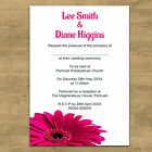 Personalised Day Evening Wedding Invitations Invites + Envelopes Pink Gerbera