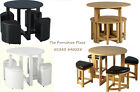 STOWAWAY ROUND DINING TABLE STOOLS BLACK WHITE ASH WAXED PINE GLASS CHROME
