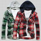 Mens Checked Check Button Up Long Sleeve Hoodies Hooded Shirt Coat Outwear D209