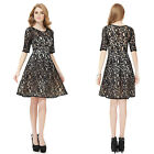Elegant Ladies Black Lace Short Sleeve Cocktail Evening Party Casual Dress 06119