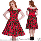 RKP20 Hell Bunny Cordelia 50's Rockabilly Swing Dress Vintage Poppy Floral