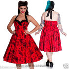 RKP19 Hell Bunny Vanessa 50's Rockabilly Swing Dress Vintage Floral Skeleton