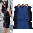 2014 New Hot European Womens Summer Casual Linen Sleeveless Short Jumpsuit Pants