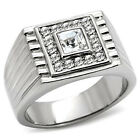 Classic Square Crystal Top Silver Stainless Steel Mens Ring