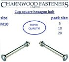 Cup square hexagon (CSH) Coach bolts, including nuts Zinc Plated M10