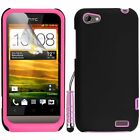 Pink Silicone Hybrid Case Cover For HTC ONE V + Screen Protector Stylus Pen
