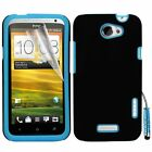 Blue Hybrid Silicone Case Cover For HTC ONE X + Screen Protector Stylus Pen