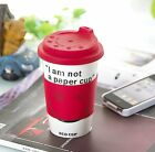 I'm not a paper cup Thermal Insulated Coffee Tea Ceramic Travel Eco Cup Mug Red