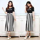 Women Black White Vertical Striped Bow High Waisted Full Skater Midi Dress Skirt