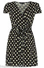 NEW LADIES BLACK IVORY YELLOW SUMMER VINTAGE 50S WRAP DRESS DAISY FLORAL PRINT