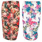 Women's Multicoloured Floral Flowers Pattern Stretch Midi Pencil Tube Skirt