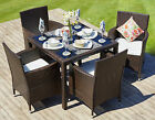 Rattan Outdoor Garden Furniture Dining Set 4 Cube Chairs Conservatory Patio