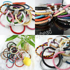 HOT Leather Wrap Wristband Crystal Cuff Punk Magnetic Rhinestone Bangle Bracelet