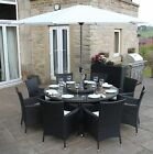 Black Rattan 4, 6 or 8 Seat Round Garden Furniture Dining Set with Parasol