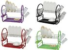 TWO 2 TIER CHROME DISH DRAINER RACK HOLDER WITH PLASTIC DRIP TRAY CUTLERY HOLDER