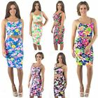 Womens New Bright Summer Colour Two Piece Set Pencil Skirt Cropped Top