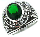 US Army Emerald Green Stone Military .925 Sterling Silver Mens Ring
