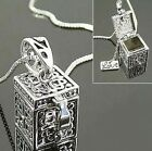 FD446 Vintage Silver Women Girls Wish Hope Box Pendant Necklace Jewellery /