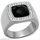 Jet Black Onyx & Crystal Stones Silver Stainless Steel Mens Ring