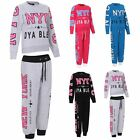 NEW GIRLS NYC SWEAT TOP & JOG BOTTOMS SET TRACKSUIT