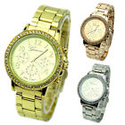 UNISEX WOMENS MENS FANCY GENEVA BLING CRYSTAL STAINLESS STEEL WRIST WATCH