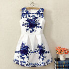 Vintage Women Sleeveless White and Blue Porcelain Floral Print Flare Mini Dress