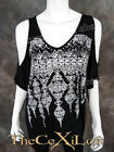Womens VOCAL Oversized Slouchy Shirt Short Sleeve Black with Cold Shoulders!