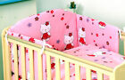 PINK Baby GIRL 3PC OR 4 PC NURSER BABY COT SET INCLUDE BUMPER - KITTY