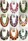 ETHNIC INSPIRED: WOMENS CHUNKY STATEMENT NECKLACE EARRINGS JEWELLERY GIFT SET