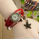 Retro Weave Around Leather Bracelet Starfish Decoration Women Quartz Wristwatch