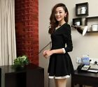 Lady New Fashion Dress Long Bubble Sleeve Lace Falbala Fitted Casual Party Skirt