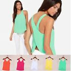 New Lady 5 Candy Color Casual Shirts Sexy Backless Strap Chiffon Blouse Tops -CB